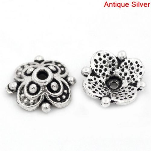 20 Antique Silver Flower Bead Caps 10 x 10 mm (Fits 12 mm-14 mm Beads),Hole 1.3 mm
